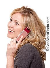 微笑妇女, 在上, 移动电话