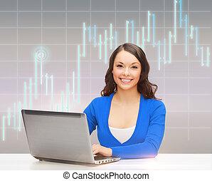 微笑的婦女, 在, 藍色, 衣服, 由于, 便攜式電腦