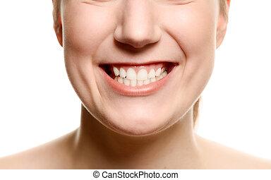 微笑的婦女, 顯示, 她, 牙齒