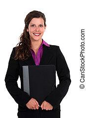 微笑, すべて, かなり, 女性実業家, ラップトップ, 保有物