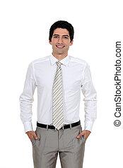 微笑, すべて, ハンサム, 若い, ビジネスマン