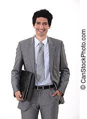 微笑, すべて, ラップトップ, 若い, ビジネスマン, 肖像画, ハンサム
