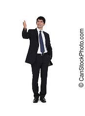 微笑, すべて, 経営者, 若い, 挨拶, businesspartners