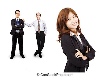 微笑, そして, 確信した, アジアのビジネス, 女, そして, 成功, ビジネス チーム