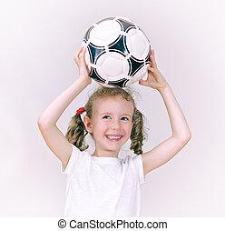 微笑。, わずかしか, ボール, 女の子