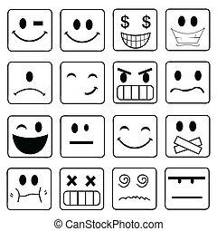 微笑, アイコン, セット, ベクトル