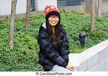 微笑, アジア人, 学生, キャンパス