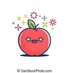 微笑, イラスト, kawaii, アップル, 漫画, emoticon