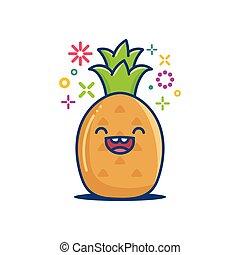 微笑, イラスト, kawaii, パイナップル, 漫画, emoticon