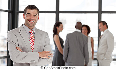 微笑, カメラ, ビジネス エグゼクティブ