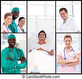 微笑, カメラ, 医者, 患者, 出席