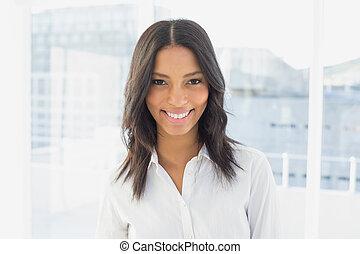 微笑, カメラ, 女性実業家
