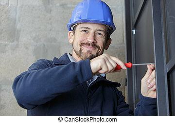 微笑, カメラ, handyman, 若い