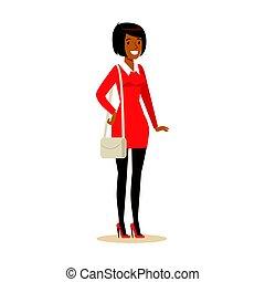 微笑, カラフルである, 特徴, clothes., 偶然, アメリカ人, ベクトル, イラスト, アフリカ, 女の子, 漫画