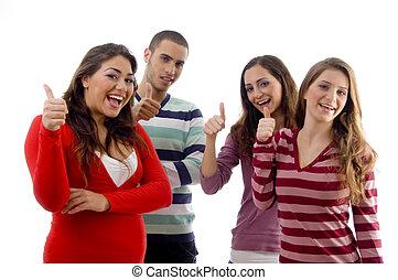 微笑, グループ, の上, 親指, 人々