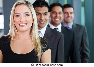 微笑, グループ, ビジネス, 横列