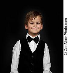 微笑, スーツ, 男の子