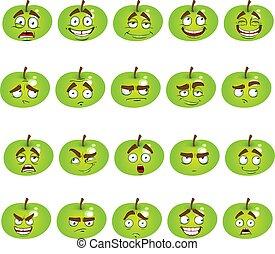 微笑, セット, りんご