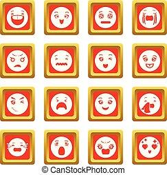 微笑, セット, アイコン, ベクトル, 広場, 赤