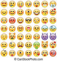 微笑, セット, emoticons., emoji., アイコン