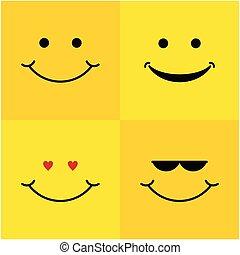 微笑, デザイン, ベクトル, セット, テンプレート