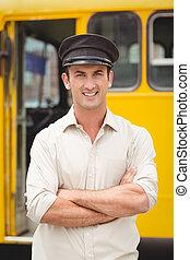 微笑, バスの運転手, カメラを見る
