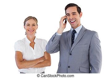 微笑, ビジネスマン, 電話, ne