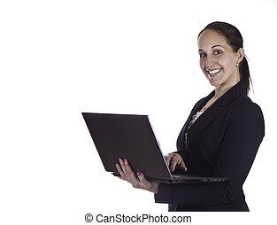 微笑, ビジネス 女, 上に働く, a, ラップトップ・コンピュータ