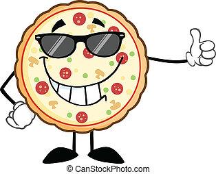 微笑, ピザ, サングラス