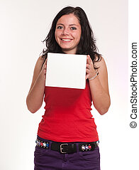 微笑, ブルネット, 保有物, a, 白, 箱