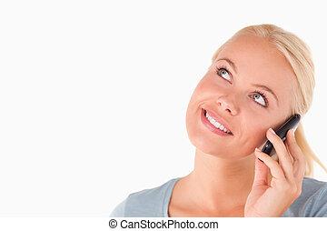微笑, ブロンド, 女, 電話