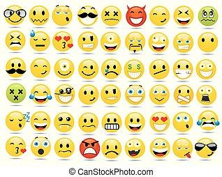 微笑, ベクトル, セット, イラスト, アイコン