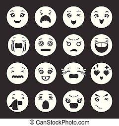 微笑, ベクトル, セット, 灰色, アイコン