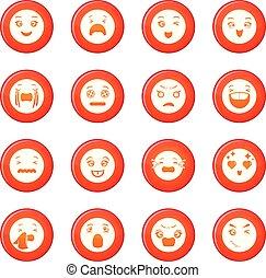 微笑, ベクトル, セット, 赤, アイコン