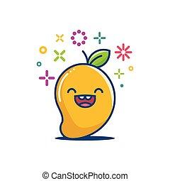 微笑, マンゴー, イラスト, kawaii, 漫画, emoticon