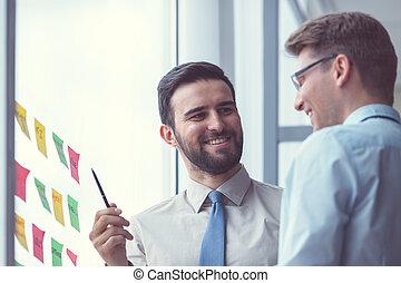 微笑, ミーティング, ビジネス 人々