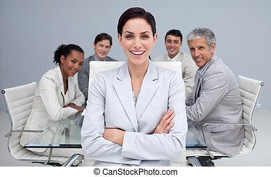 微笑, ミーティング, 幸せ, 女性実業家
