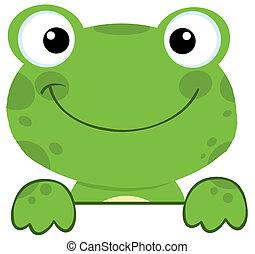 微笑, 上に, 板, カエル, 印