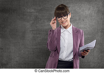 微笑, 亞洲人, 老師, 由于, 書, 站立