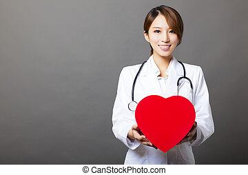 微笑, 亞洲女性, 醫生, 由于, 心