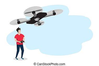 微笑, 人, drone., ∥あるいは∥, ベクトル, illustration., 若い, コピー, コントロール...