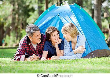 微笑, 公園, 家族のキャンプ