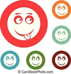 微笑, 円, ベクトル, セット, アイコン