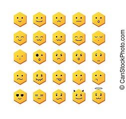 微笑, 別, face., セット, アイコン, ベクトル