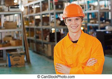 微笑, 労働者, ∥において∥, a, 倉庫