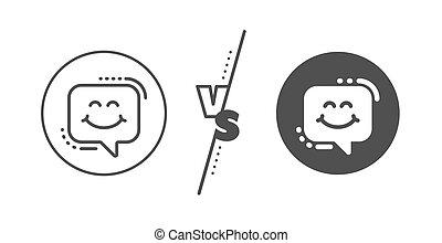 微笑, 印。, ベクトル, 幸せ, emoticon, icon., チャット, 線, bubble., スピーチ