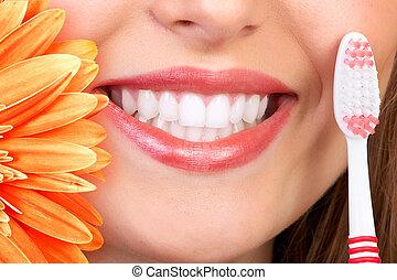 微笑, 同时,, 牙齿