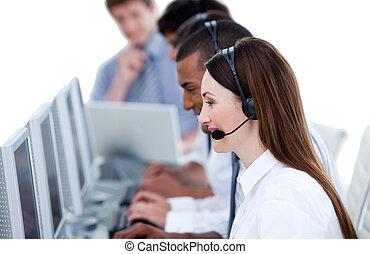 微笑, 商業組, 工作, 在, a, 呼叫中心