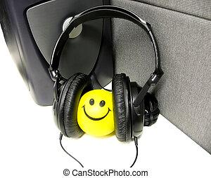 微笑, 在, 頭戴收話器