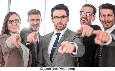 微笑, 多様, ビジネス チーム, で 指すこと, あなた